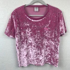 Victorias Secret Pink Velvet Top Short Sleeve A218
